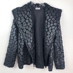 VINE STREET l Black Faux Fur Animal Print Jacket